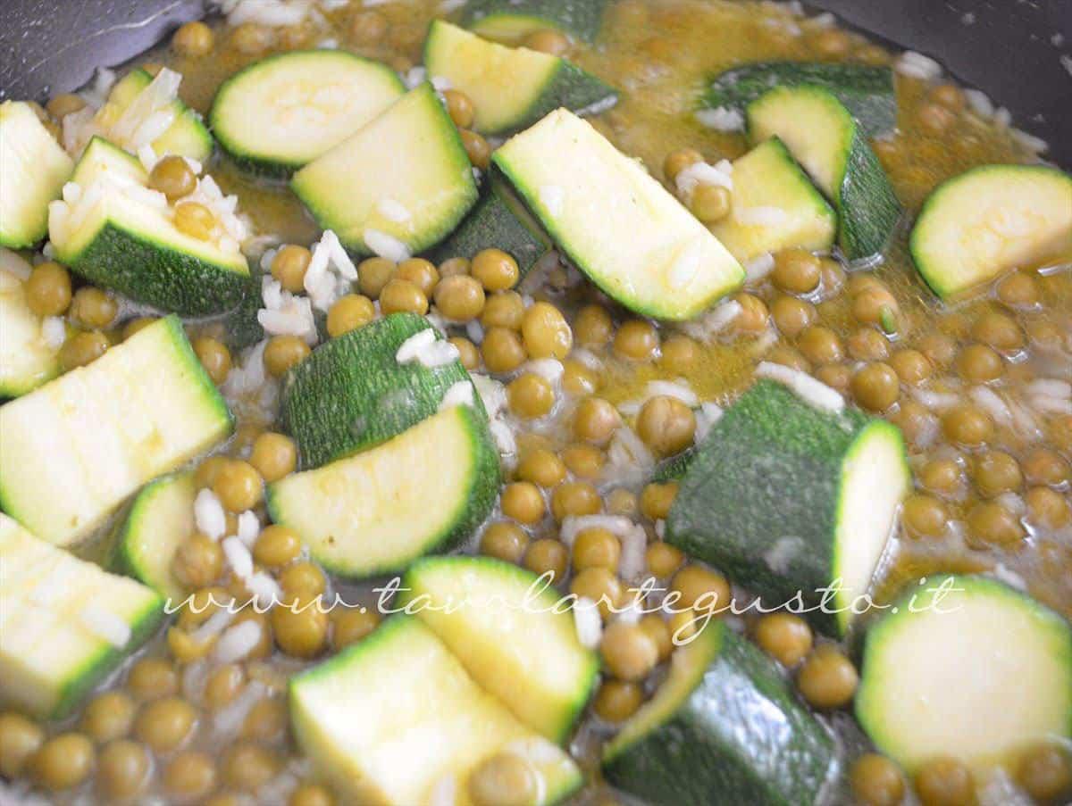 Fine cottura pronta per la frullatura -Ricetta Vellutata di zucchine e piselli