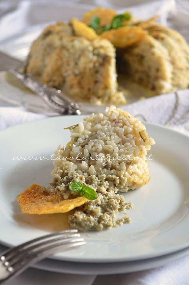 Bordura di riso con crema di carciofi e crostini di Fiore Sardo - Ricetta Bordura di riso.