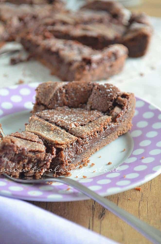 Fetta di Crostata morbida al cioccolato - Ricetta