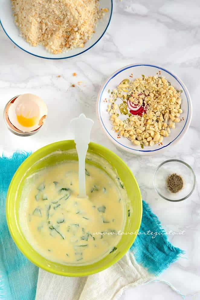 Preparare il ripieno di ricotta e pinoli - Ricetta Alici ripiene al forno