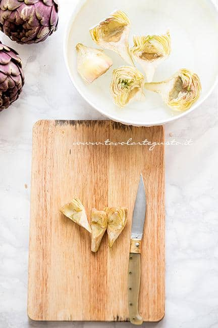 Pulire il carciofi -Ricetta Carciofi carmallati