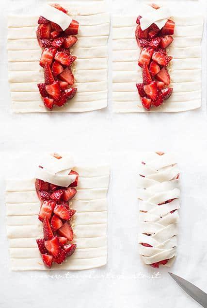 Turorial intreccio per preparare le sfogliatine alle fragole - Ricetta Sfogliatine di fragole