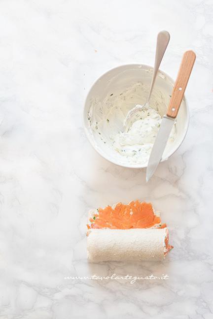Arrotolare il cilindro - Ricetta Girelle al Salmone