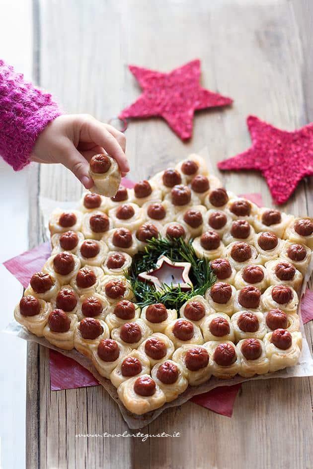 Antipasti Di Natale Wurstel.Stella Di Wurstel E Pasta Sfoglia Finger Food Natalizio Ricetta
