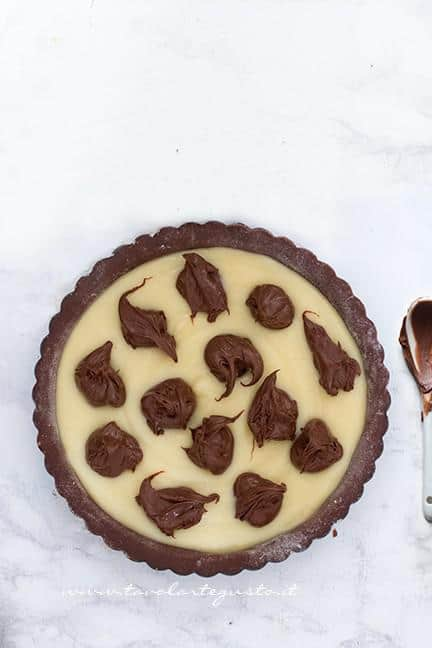 Aggiungere al ripieno la nutella - Ricetta Crostata Crema e Nutella