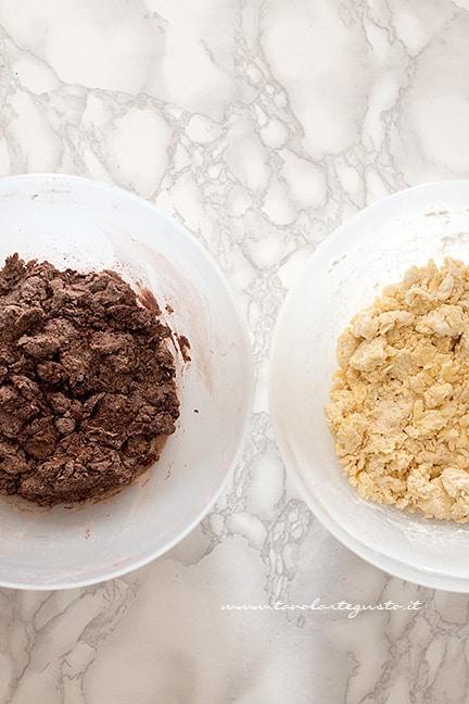 realizzare i due impasti al cacao e alla panna - Ricetta Biscotti Abbracci