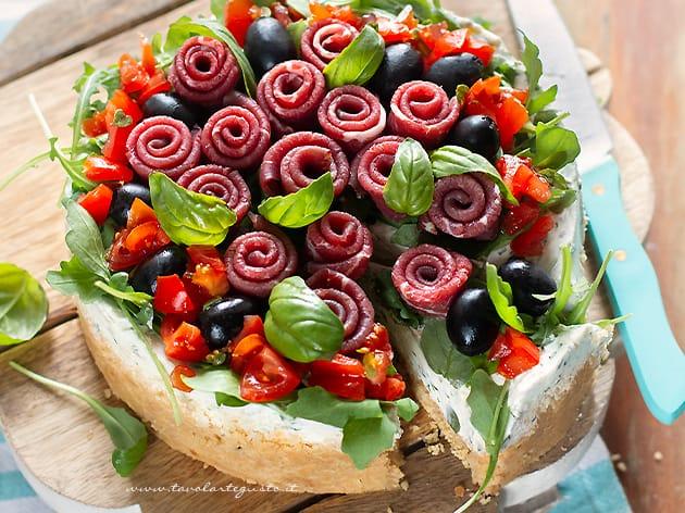 Cheesecake salata bresaola e rucola - Ricetta Cheesecake salata-