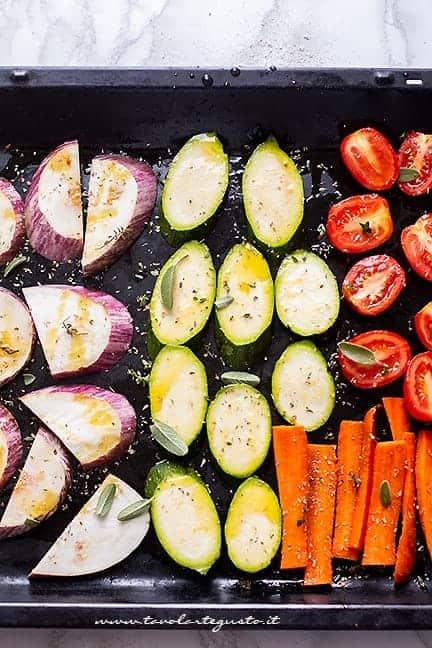 tagliare le verdure - Ricetta pizza integrale