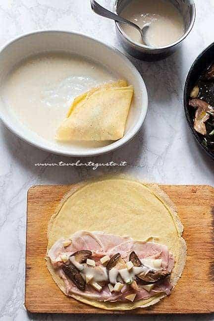 farcire le crespelle con funghi, prosciutto e formaggio - Ricetta Crepes Prosciutto e funghi