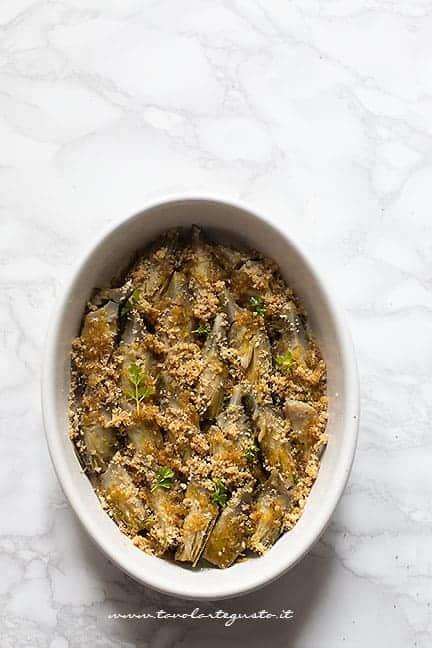 Carciofi al forno gratinati - Ricetta Carciofi al forno