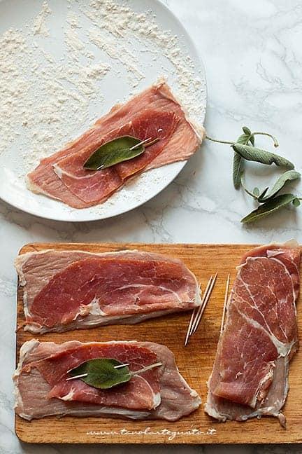 fettine di vitello con prosciutto crudo e salvia - Ricetta Saltimbocca alla romana