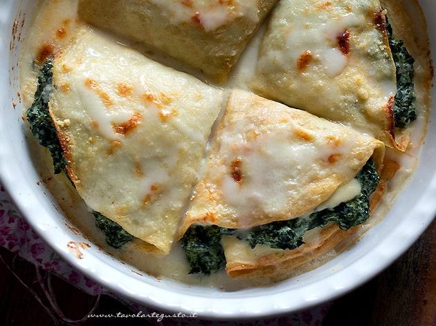 Crespelle ricotta e spinaci - Crepes ricotta e spinaci - Ricetta veloce e facile
