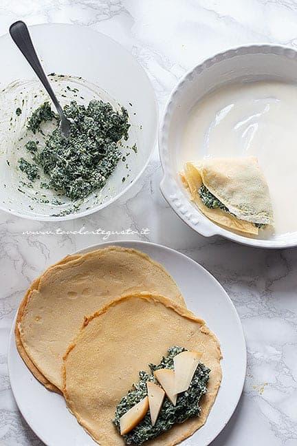 come fare le crespelle ricotta e spinaci - Ricetta Crepes ricotta e spinaci