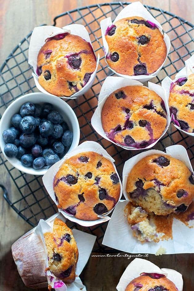 Muffin ai mirtilli - Ricetta Muffin ai miritilli