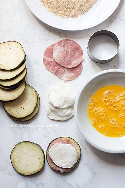 farcire i medaglioni di melanzane -Ricetta Cordon Bleu di melanzane