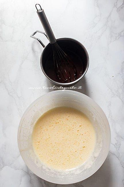 montare tutti gli ingredienti -Ricetta Torta cioccolato e ciliegie