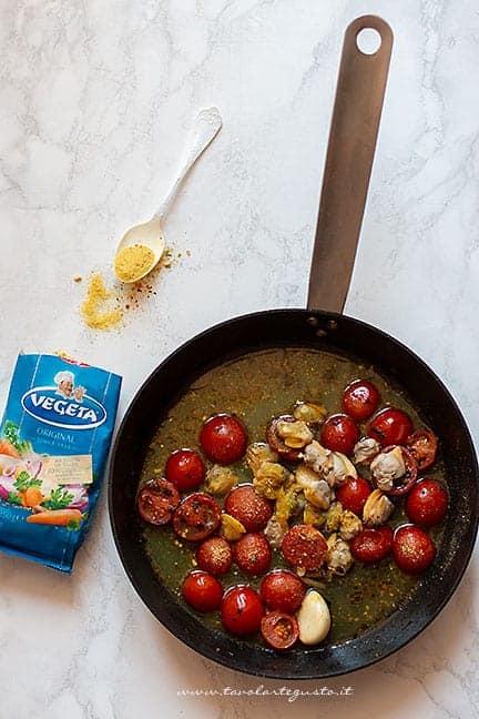 sughetto pomodorini e vongole - Ricetta Spaghetti vongole e pomodorini