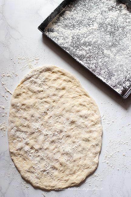 stendere in teglia - Ricetta Pizza senza lievito