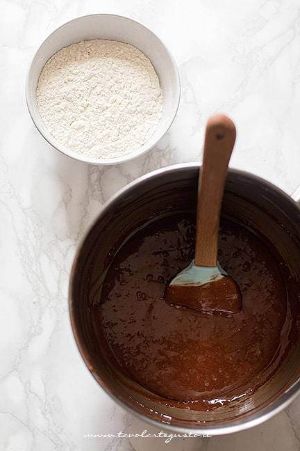 Aggiungere la farina - Plumcake al cioccolato