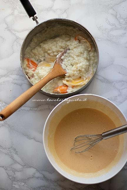 realizzare la crema di riso e di ricotta per pastiera di riso